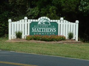 Matthews Downtown Welcome Sign